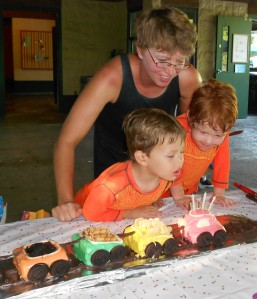 Blowing out the caboose candles.